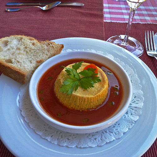French tomato soup in white bowl at restaurant in Burgundy France