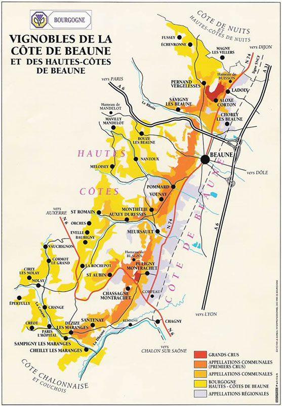 Map of Vineyards in Burgundy France
