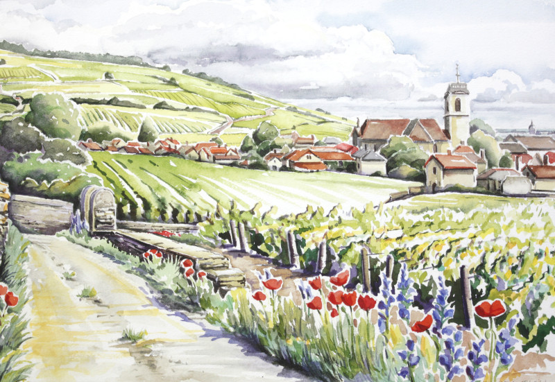French countryside painting of Pommard village behind flowers and fields